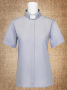 Tab Collar Women's Clergy Shirt Grey Short Sleeves