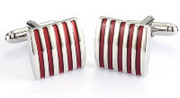 Red and Silver Classic Stripe Cufflinks