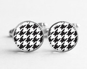Classy Formal Black and White Houndstooth Cufflinks