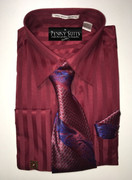"""ULTIMATE"" Large 16.5 Shadow Stripe Burgundy Maroon 4 pc. Dress Shirt Set"