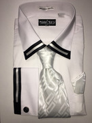"""ULTIMATE"" 2XL 18.5 Classy Conservative White with Black Lines 4 pc. Dress Shirt Set"