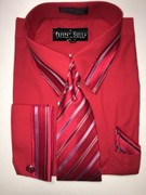 """ULTIMATE"" 2XL 18.5 Red and Blue Striped Pattern (Tie Matches with Collar) 4 pc. Dress Shirt Set"