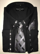 """ULTIMATE"" 3XL 19.5 Solid Black Box Pattern (Tie Matches with Collar & Cuffs) 4 pc. Dress Shirt Set"