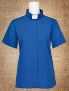 Tab Collar Women's Clergy Shirt Royal Blue Short Sleeves
