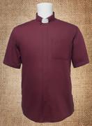 Tab Collar Men's Clergy Shirt Burgundy SS