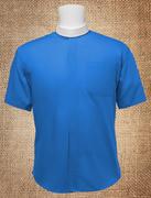 Men's Neckband Short Sleeves Shirt Royal Blue