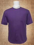 Men's Neckband Short Sleeves Shirt Purple