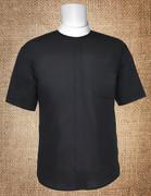 Men's Neckband Short Sleeves Shirt Black