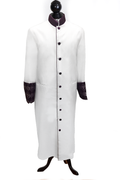 Ladies Clergy Cassock - White & Special Purple Brocade