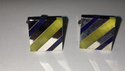 Magnificient Diagonal Lime Square Striped Cufflinks with Silver Bar