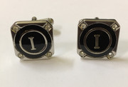 "Exquisite Square Diamond Initial ""I"" Cufflinks with Black Back"