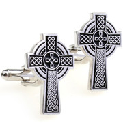 *Celtic Prominent Cross with Black Design within Cufflinks - Silver Cufflinks