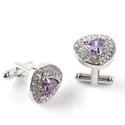 Gorgeous Diamond-Look Stone Triangle Cufflinks in Lilac