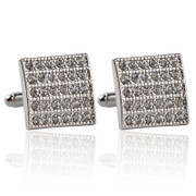 "Big Square ""WOW Appealing"" Diamond-Look Stone Cufflinks"