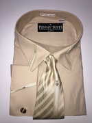 """ULTIMATE"" 6XL 22 Tan Beige with Fashion Accents on Cuffs-Collar 4 pc. Dress Shirt Set"