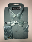 """ULTIMATE"" X-Large 17.5 Teal (Green/Blue) with Matching Paisley Accents on Cuffs-Collar-Bow Tie 4 pc. Dress Shirt Set"