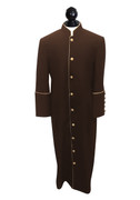 - CI -Men's Clergy Cassock Brown with Gold Outline