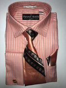 """ULTIMATE"" XL 17.5 (6/7) Shadow Stripe Detailed Peach 4 pc. Dress Shirt Set"