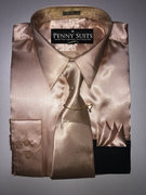 """ULTIMATE"" Medium 15.5 Tan/Dark Cream Satin Designo 3 pc. Dress Shirt Set"