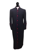 Men's Clergy Cassock Black and Burgundy Outline