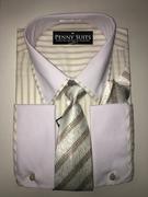 """ULTIMATE"" XL 17.5 Beige Brown Pinstripe Business Executive 4 pc. Dress Shirt Set"