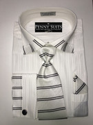 """ULTIMATE"" 2XL 18 1/2 White and Black Striped Collar-Cuff Design Shirt with a Accenting Tie 4 pc. Dress Shirt Set"