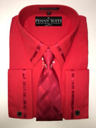 """ULTIMATE"" 2XL 18 Solid Red Collar-Cuff Design Shirt with a Accenting Tie 4 pc. Dress Shirt Set"