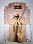"""ULTIMATE"" Medium 15.5 Cognac and White Two-Tone Zig-Zag Fashion Stripes 4 pc. Dress Shirt Set"