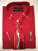 """ULTIMATE"" 2XL 18.5 Solid Red with a Contrasting Collar Fashion 3 pc. Dress Shirt Set"