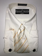 """ULTIMATE"" 3XL 19.5 Solid Ivory Dress Shirt and Cufflinks Set with a Gracious Tie"