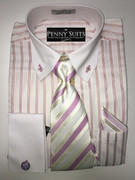 """ULTIMATE"" Medium 15.5 Striped Violet and White Oxford Fashion Business Dress Shirt and Cufflinks Set"