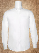 Clergy Shirt Men's White LS Tab - Cheap Transit Stained