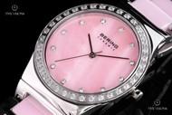 Bering Time Women's Swarovski Crystal Pink Ceramic Bracelet Quartz Watch - 32435-999