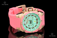TechnoSport Women's 40mm Pink & Sea-Foam Green Swiss-parts Quartz Multifunction Silicone Strap Watch - TS-100-S64