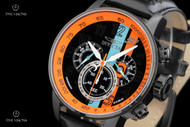 Invicta Men's 48mm S1 Rally Chronograph Orange and Blue Stripe Leather Strap Watch - 19288