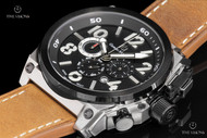 Giorgio Milano Marino Black Dial Chronograph Leather Strap Watch w/ Extra Strap - 960STBK033