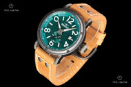 Dogfight Men's 44mm Ace Collection Teal Dial Quartz Leather Strap Watch - DF0020
