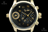 JBW Men's 46mm G3 Black Knurled Dial 16 Diamond Dual Time Zone Calf Leather Strap Watch - J6325H