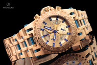 Imperious Men's 50mm Chaos Swiss Made Chronograph 18kt Rose Gold Plated Bracelet Watch - IMP1062