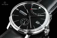Junkers Men's 40mm Bauhaus German Made Black Dial Caliber 9132 Automatic Leather Strap Watch with Power Reserve Indicator - 6060-2