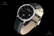 Junkers Men's 40mm Bauhaus German Made Black Dial Swiss SW200 Automatic Leather Strap Watch - 6050-2