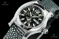 Reactor 36mm Curie Ladies Polished Stone Dial Stingray Strap Watch w 8 Layers Superluminova - 90201
