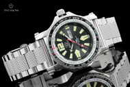 Reactor 45mm Proton World Timer Black Dial Bracelet Watch with Never Dark Technology - 91601