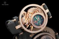 Watch Star Women's 41mm DivaStar Seahorse Swiss Made Diamond & Zirconia 18kt Rose Gold Plated Strap Watch