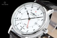 Zeppelin Men's 41mm Nordstern Series German Made White Dial Swiss Quartz GMT Leather Strap Watch - 7546-1