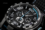 Invicta Men's S1 Rally Black Carbon Fiber Dial Quartz Chronograph Strap Watch - Model 15906