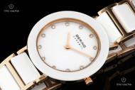 Bering Time Women's White Ceramic Rose Gold Bracelet Quartz Watch - 11429-766