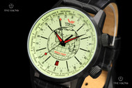 Vostok-Europe Men's Limited Edition Gaz-Limo World Timer Automatic Leather Strap Watch - 2426-5604240