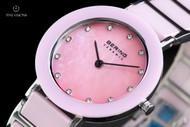 Bering Time Women's Pink Ceramic Mother-of-Pearl Dial Bracelet Quartz Watch - 11429-999
