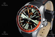 Vostok-Europe Men's Radio Room Limited Edition Automatic Dual Time Leather Strap Watch - 2426-2255220